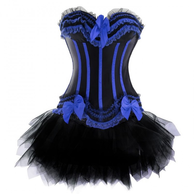 Black and Blue Corset Top with Tutu Skirt