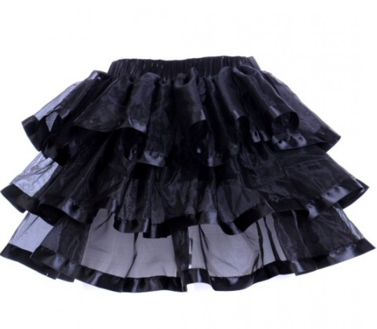 Black Layered Ribbon Burlesque Skirt