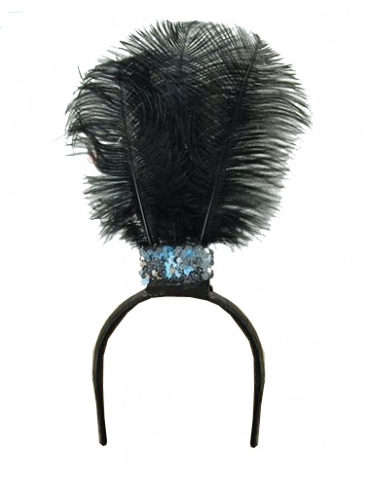 Black feather flapper style head band