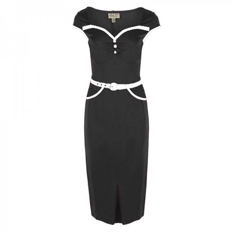 Black Pencil Dress with White Detail