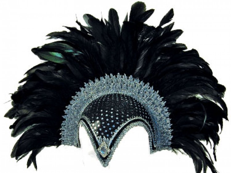Stunning feather plume helmet in Black and Silver