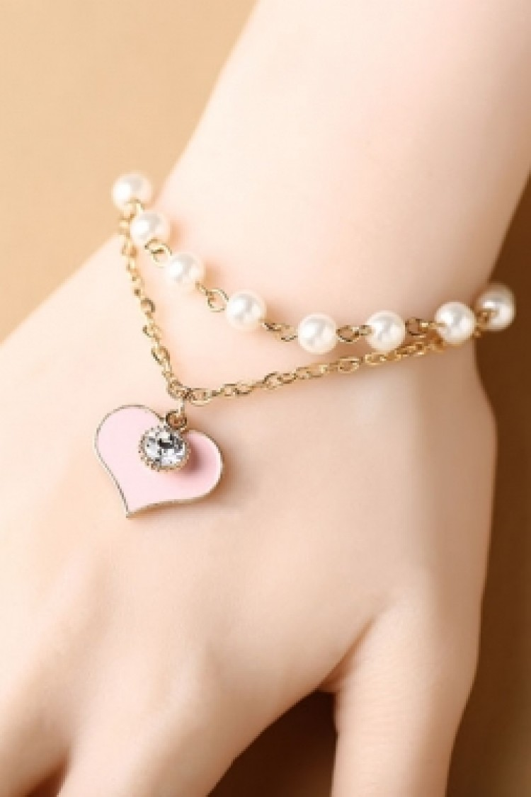 Sparkling Heart & Pearl Bracelet