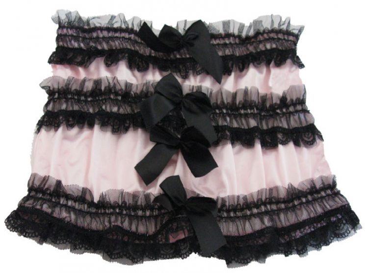 Pink Ruched Ruffle Mini Skirt