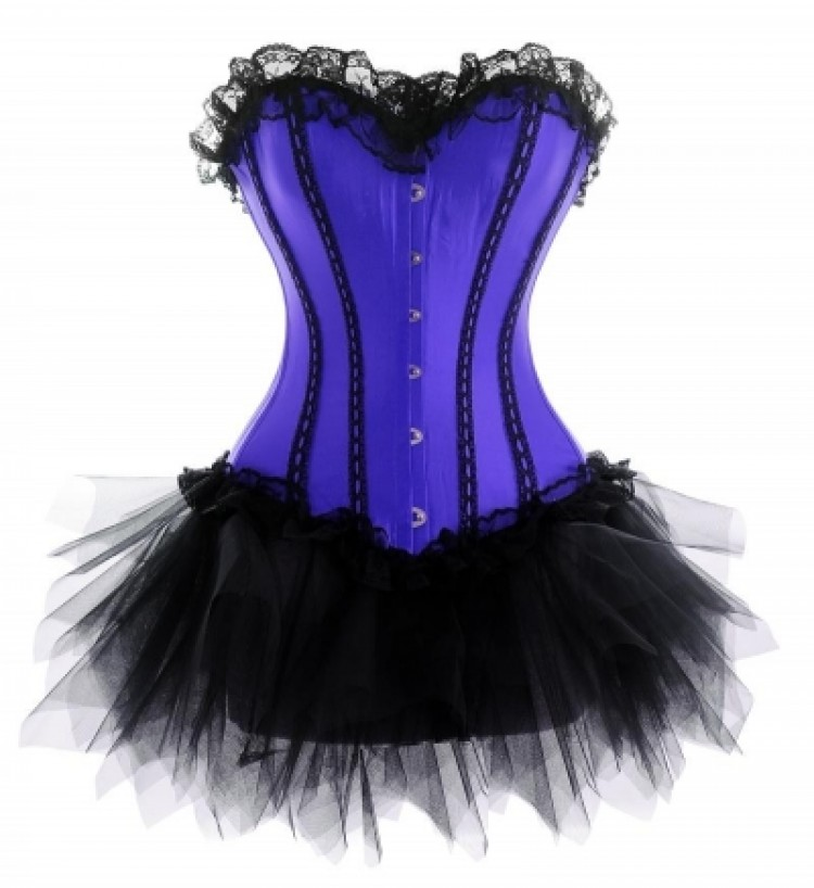 Purple Corset Outfit with Trim Lace