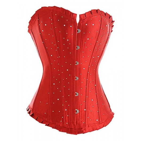 41dd2e578 Red Diamante Satin Corset Top