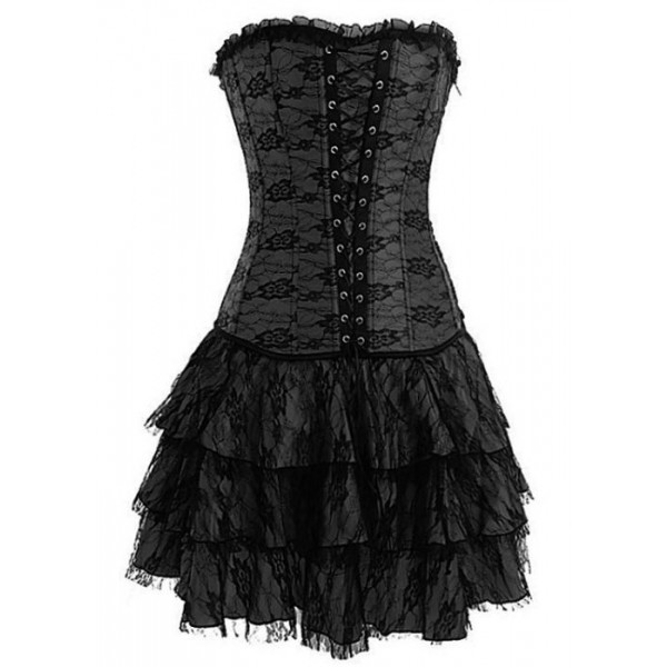 Home Design Front View: Black Layered Lace Corset Dress